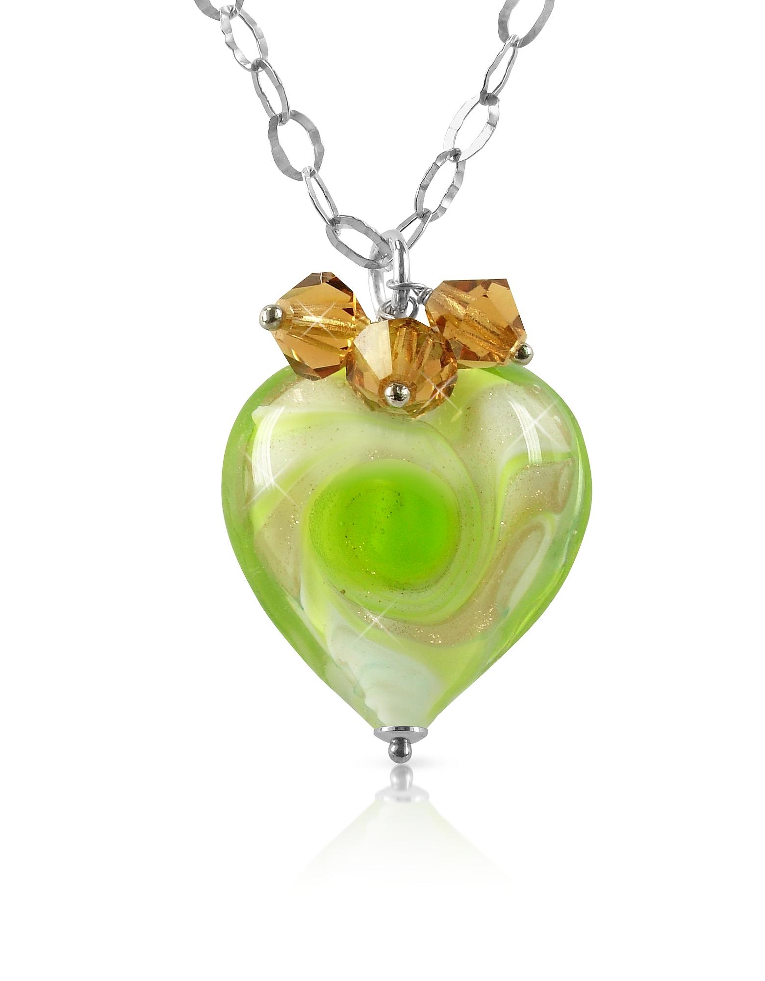 Vortice - Колье из Серебра 925 пробы с Подвеской-Сердцем из Стекла Мурано Лимонно-зеленого Оттенка