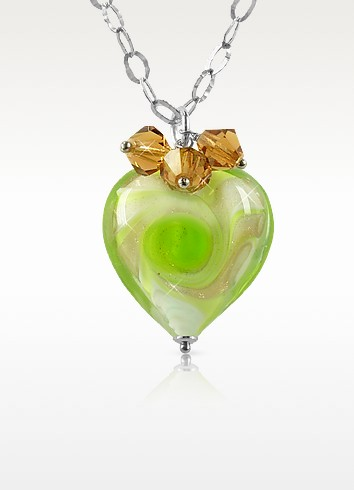 Vortice - Lime Murano Glass Swirling Heart Sterling Silver Necklace - House of Murano