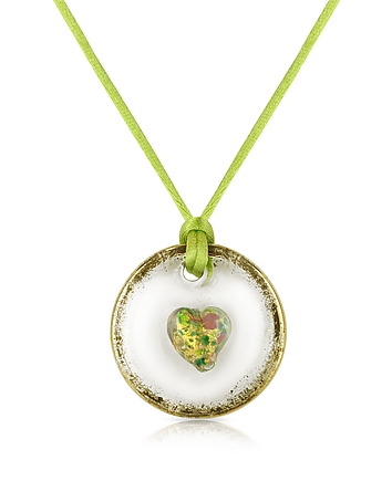 Round Murano Glass Pendant w/Green Lace