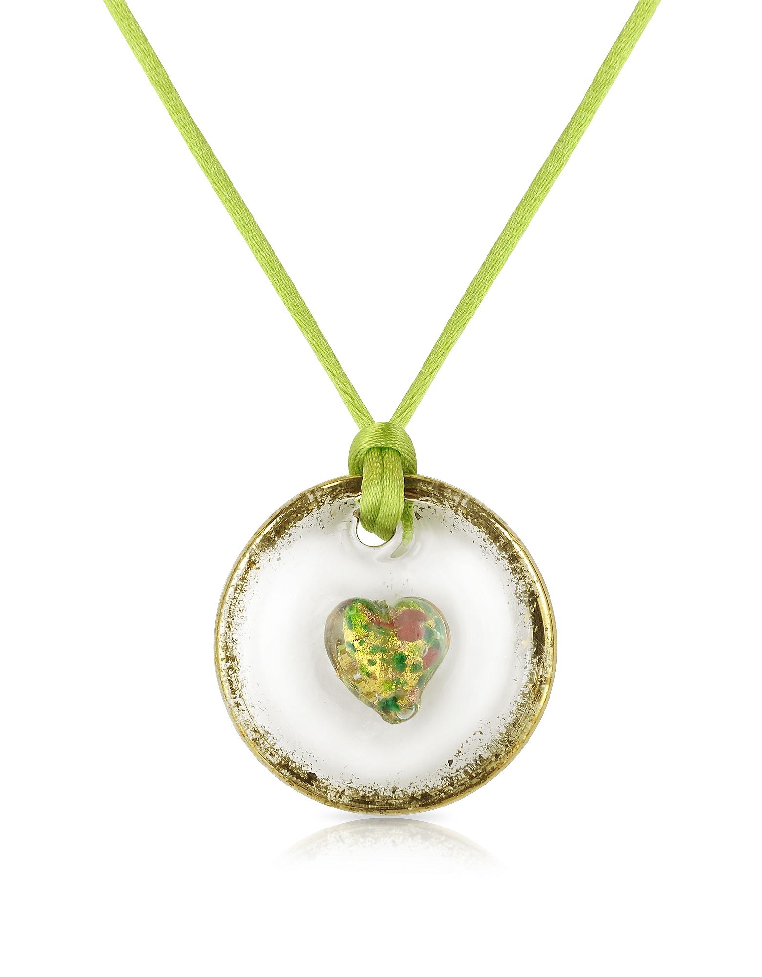 Круглая Подвеска из Стекла Мурано на Зеленом Шнурке