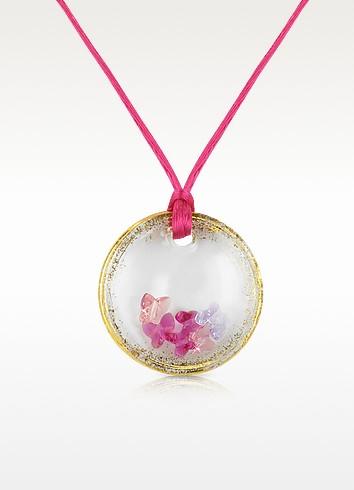 Round Murano Glass Pendant w/ Fuchsia Lace - House of Murano