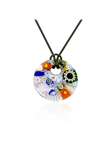 Akuamarina Iris - Pendentif en verre Murano multicolore avec cordon