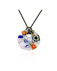 Iris - Multicolor Murano Glass Pendant w/Rubber Lace  - Akuamarina