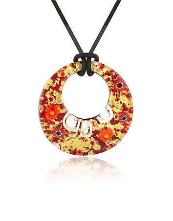 Lily - Gold Murano Glass Pendant w/Rubber Lace