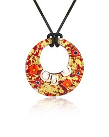 Lily - Gold Murano Glass Pendant w/Rubber Lace  - Akuamarina