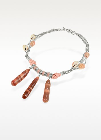 Sea Urchin and Seashells Pendant Drop Necklace - Forzieri Exclusives