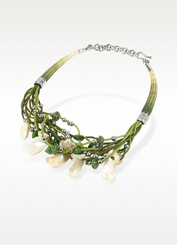 Mother of Pearl Petals and Seashells Multilace Necklace - Forzieri Exclusives