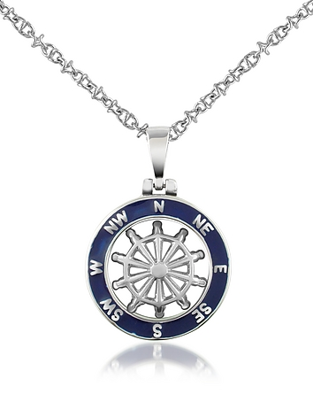 Forzieri - Stainless Steel Cutout Rudder Pendant Necklace