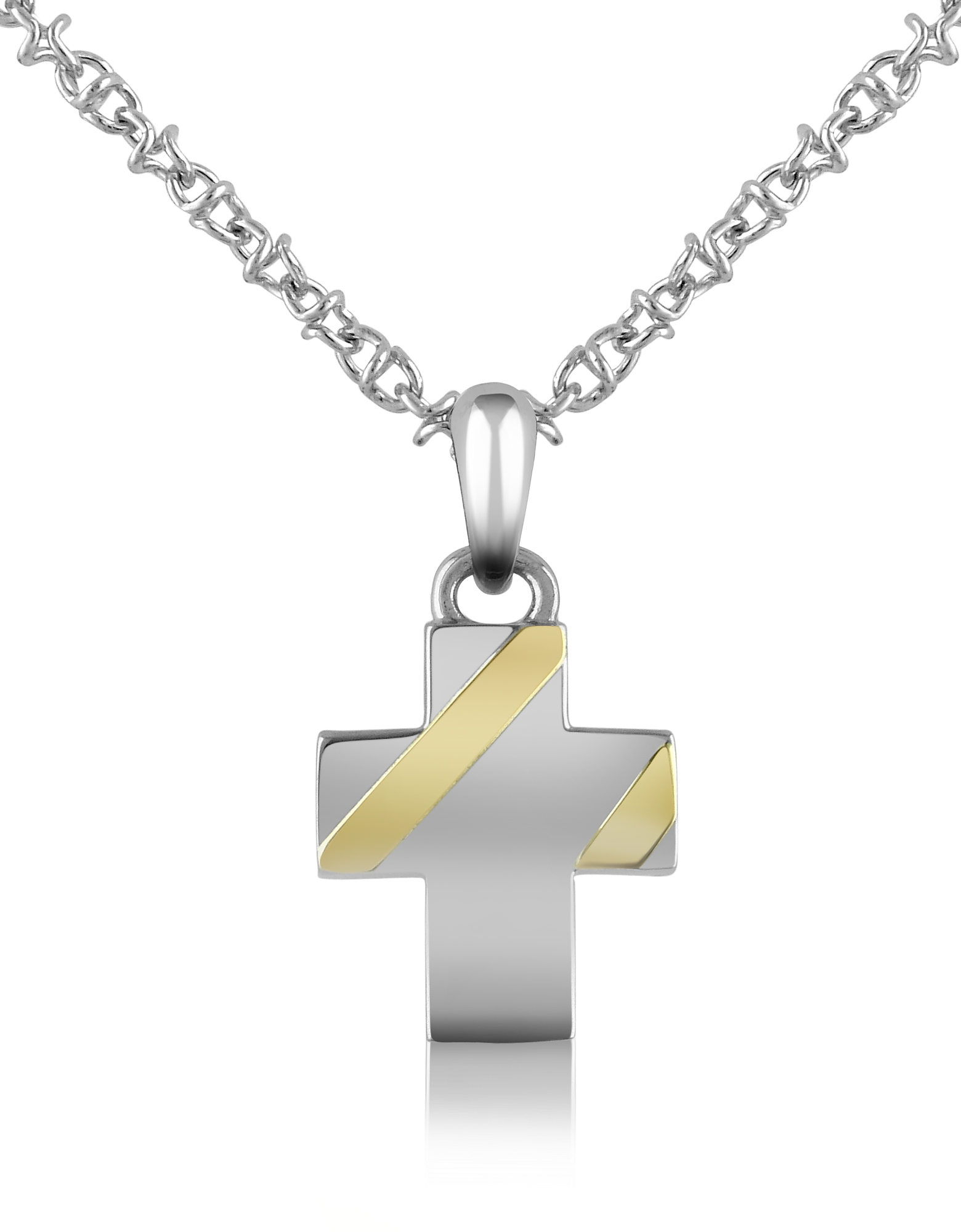 Forzieri Designer Biker Vibe, Stainless Steel Cross Pendant Necklace