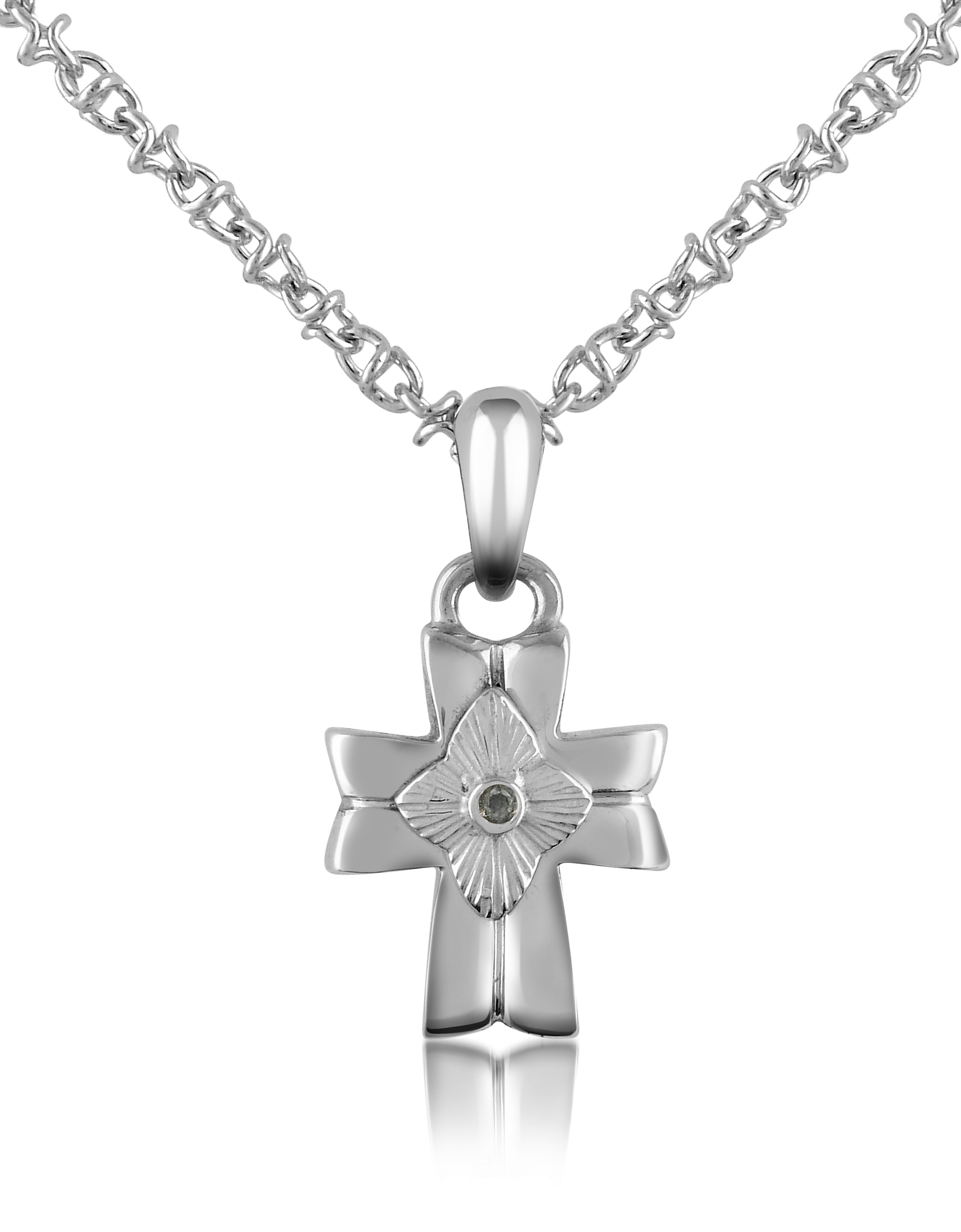Forzieri Men's Necklaces, Diamond and Stainless Steel Cross Pendant Necklace