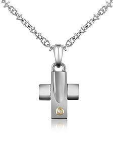 Diamond and Stainless Steel Cross Pendant Necklace - Forzieri