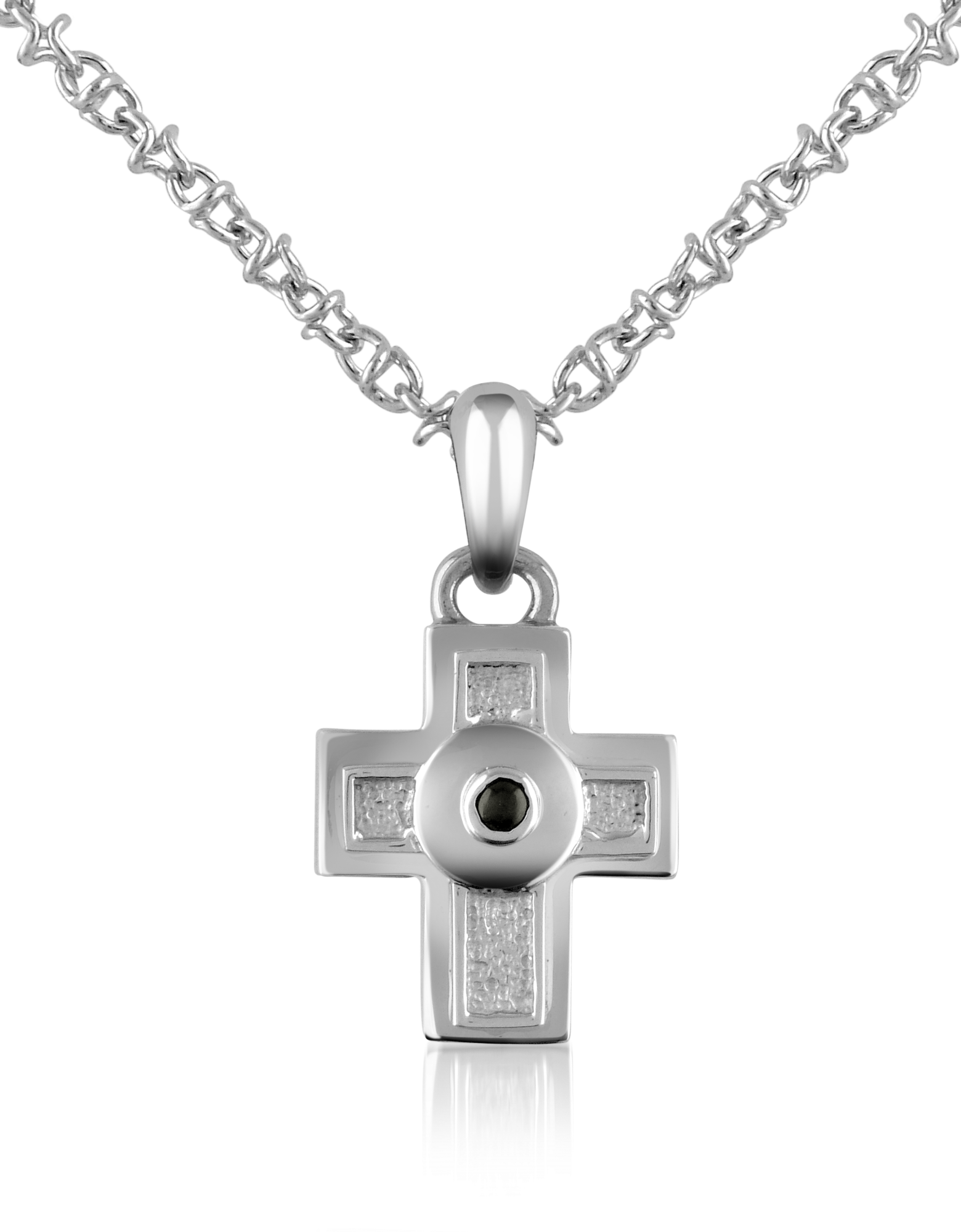 Image of Central Black Sapphire Stainless Steel Cross Pendant Necklace