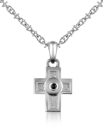 Forzieri - Central Black Sapphire Stainless Steel Cross Pendant Necklace