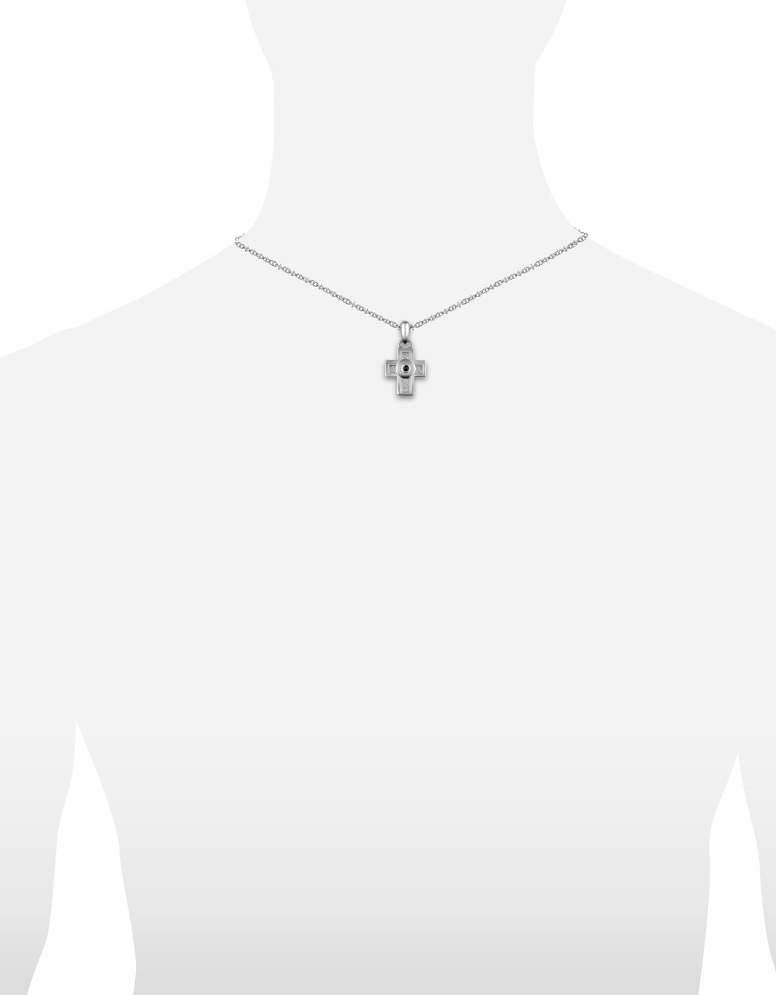 Фото Колье из Нержавеющей Стали с Подвеской-Крестом, Украшенной Черным Камнем в Центре. Купить с доставкой