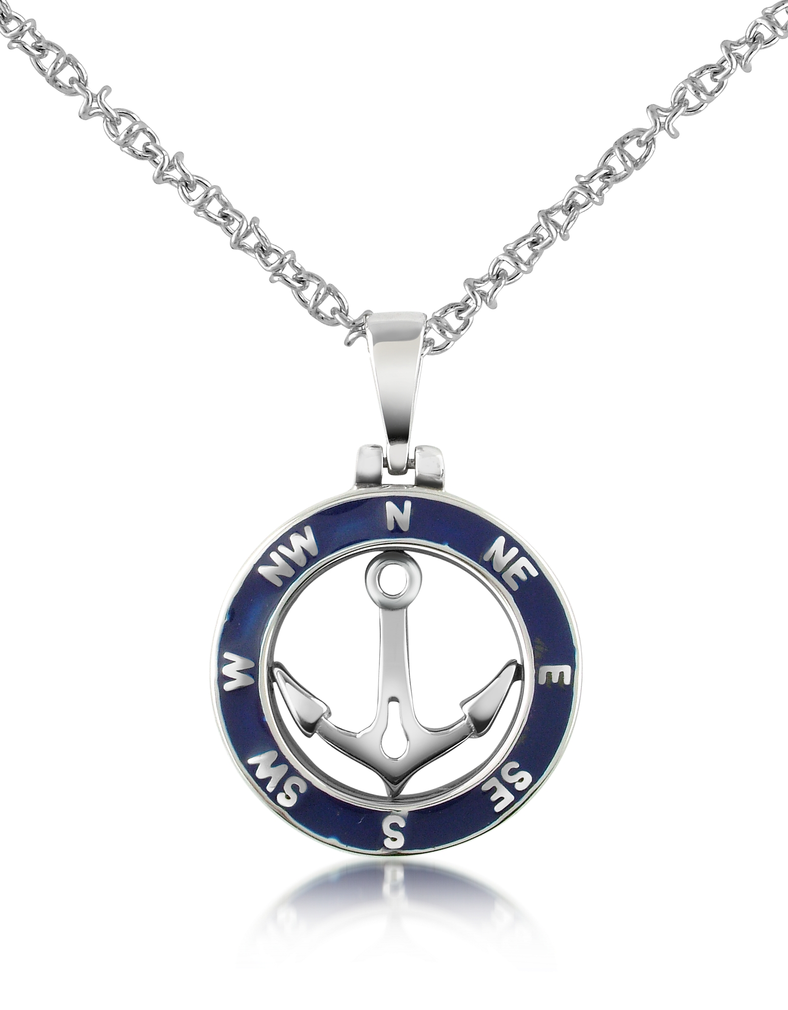 Forzieri Designer Men's Necklaces, Stainless Steel Anchor Pendant Necklace