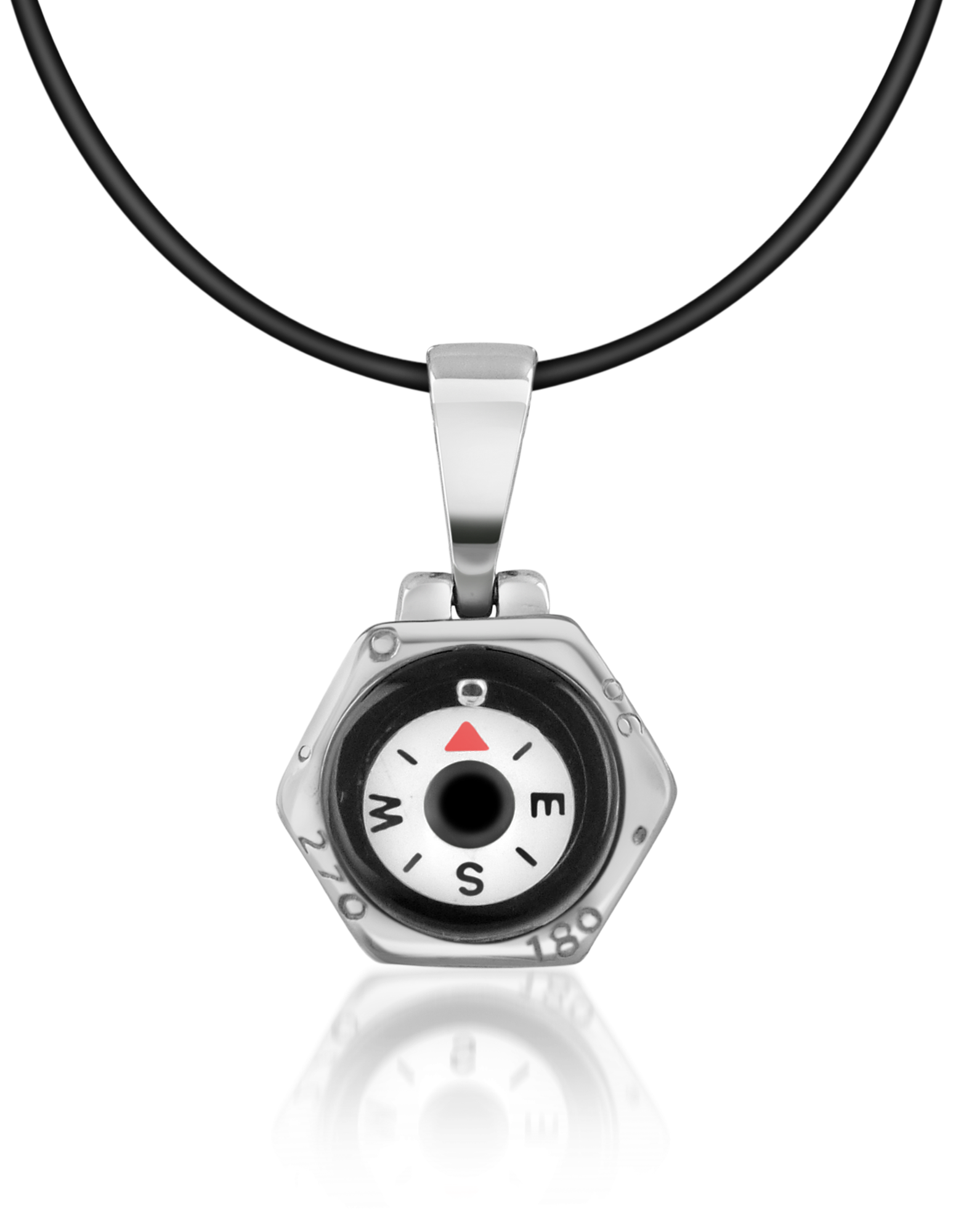 Image of Stainless Steel Compass Pendant w/Rubber Necklace