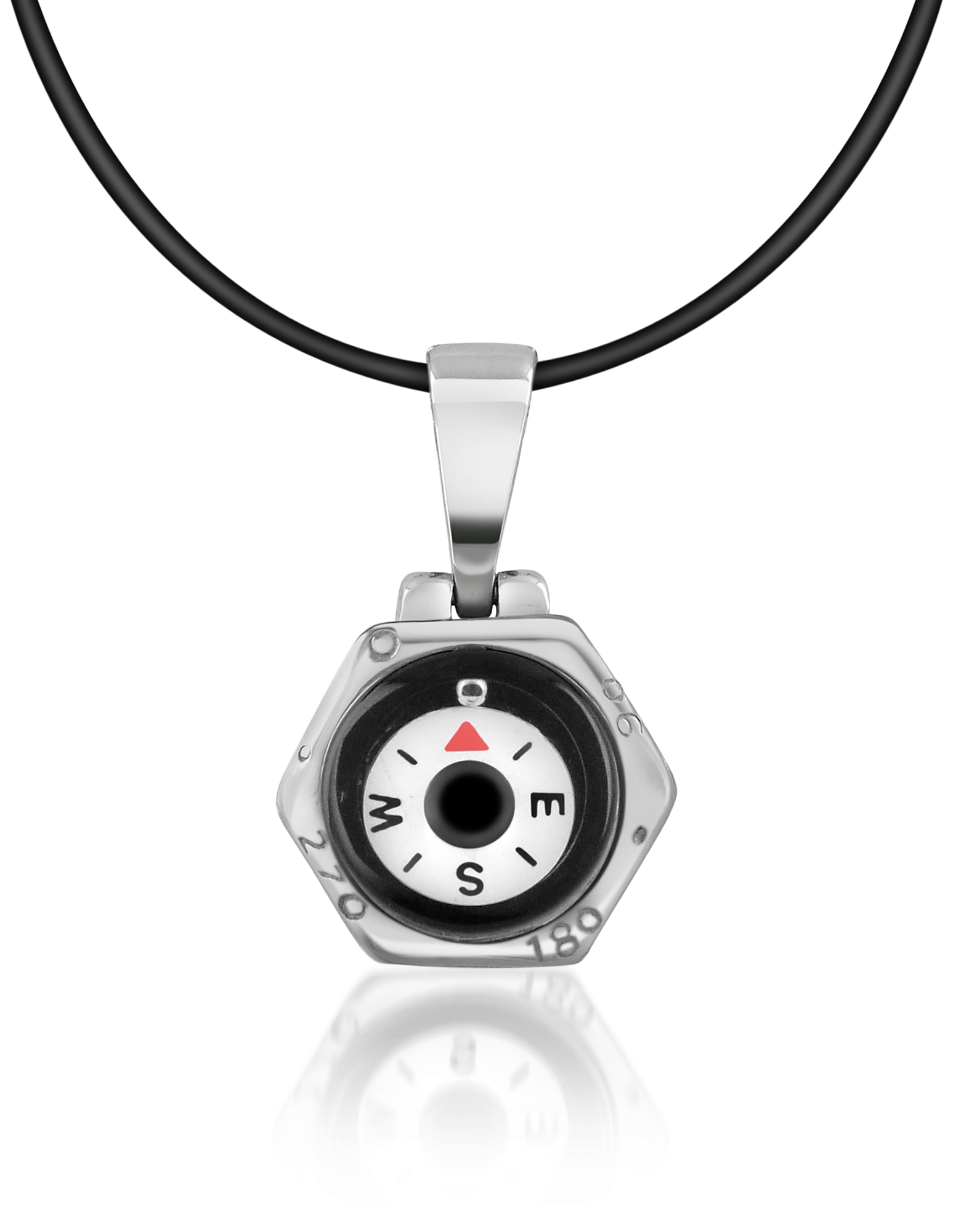 Image of Forzieri Designer Biker Vibe, Stainless Steel Compass Pendant w/Rubber Necklace