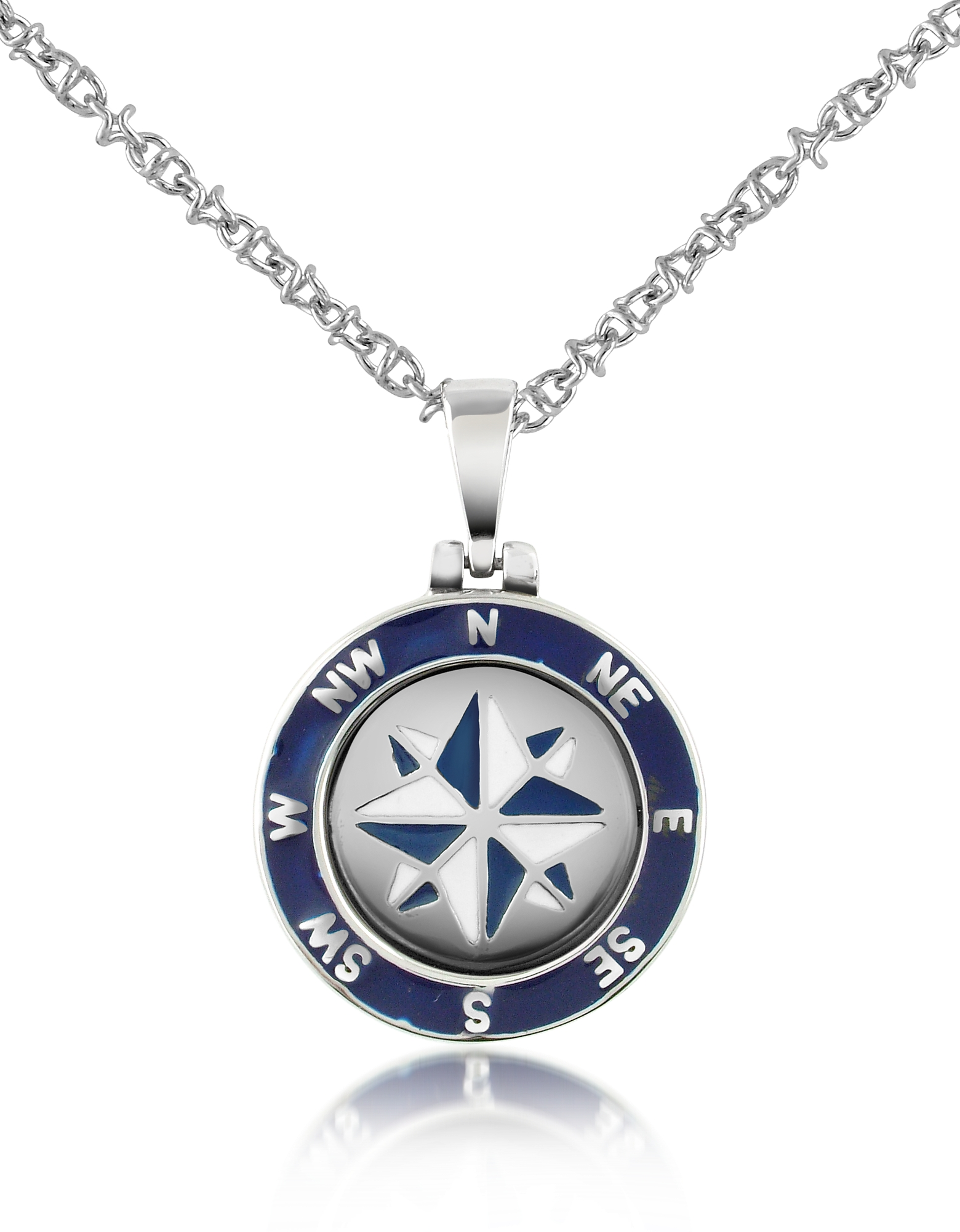 Forzieri Men's Necklaces, Stainless Steel Windrose Pendant Necklace