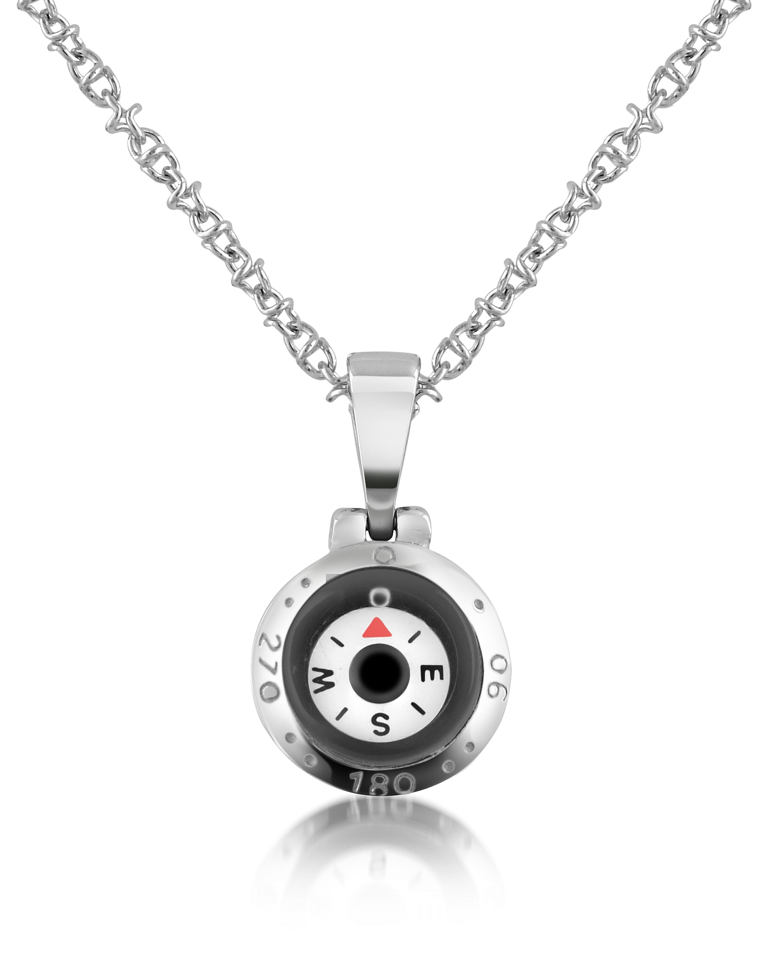 Forzieri Men's Necklaces, Stainless Steel Compass Pendant Necklace