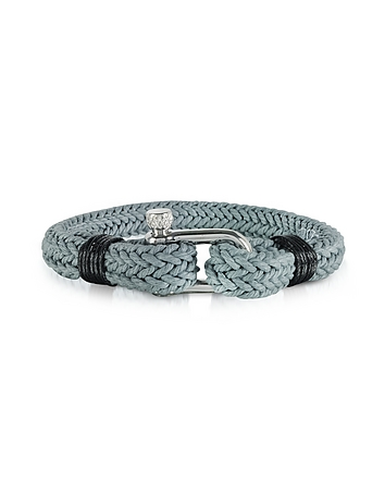 Ice Grey Woven Rope Men's Bracelet