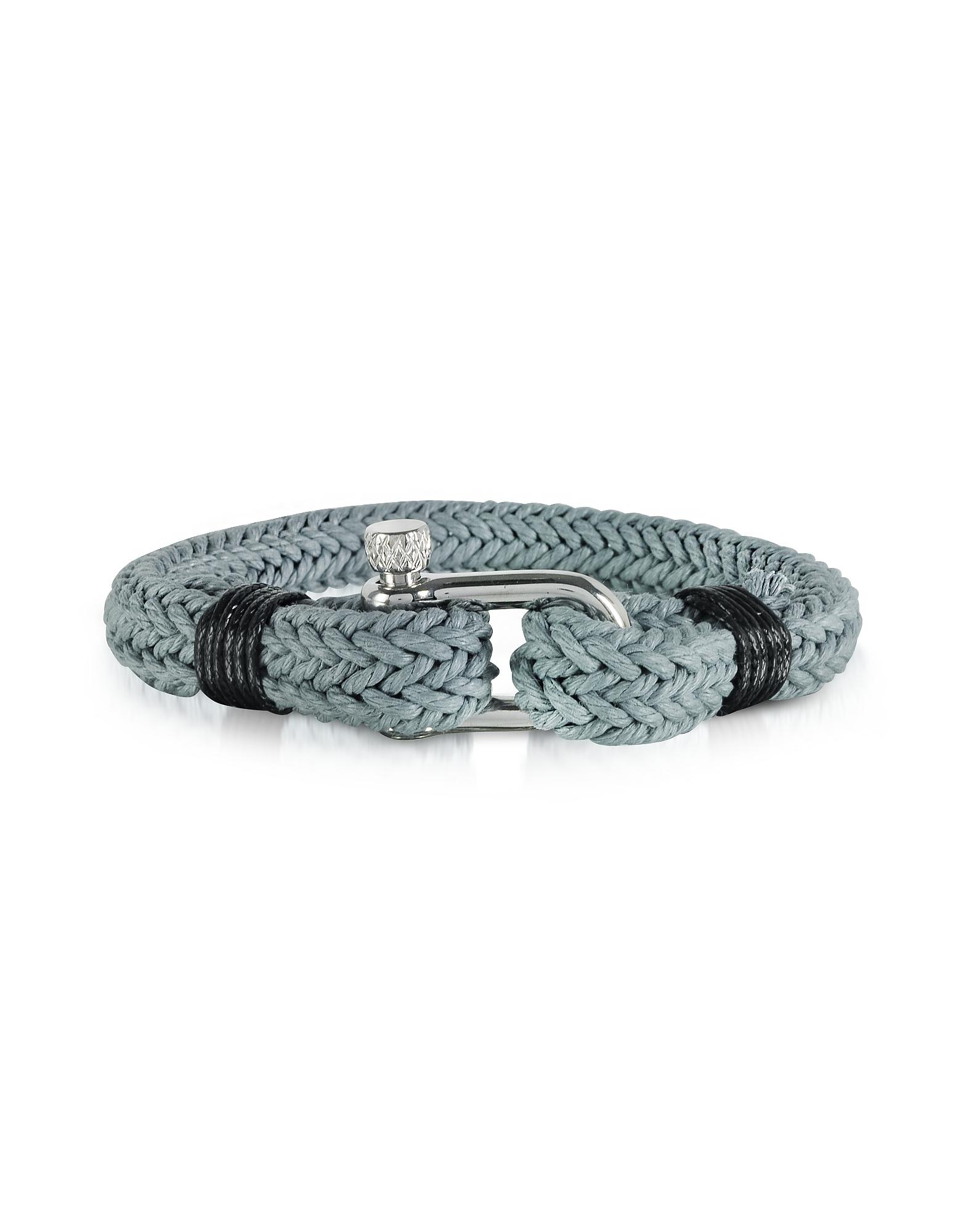 Forzieri Men's Bracelets, Ice Grey Woven Rope Men's Bracelet