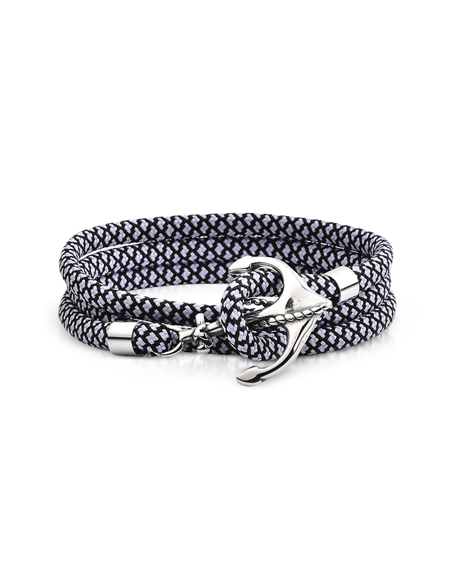 Image of Black and White Rope Triple Bracelet w/Anchor