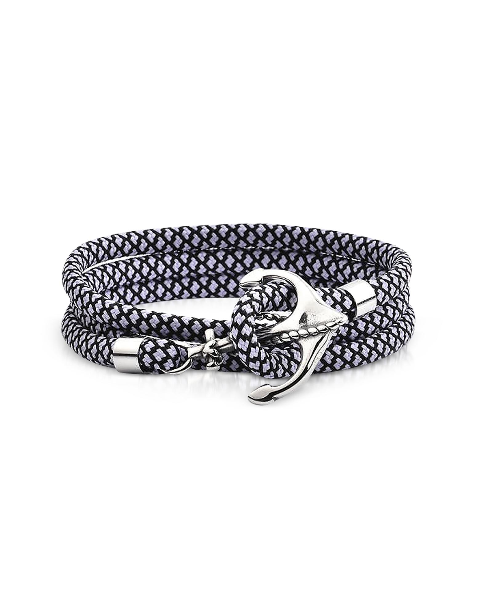 Черно-Белый Плетеный Тройной Браслет Веревка с Якорем