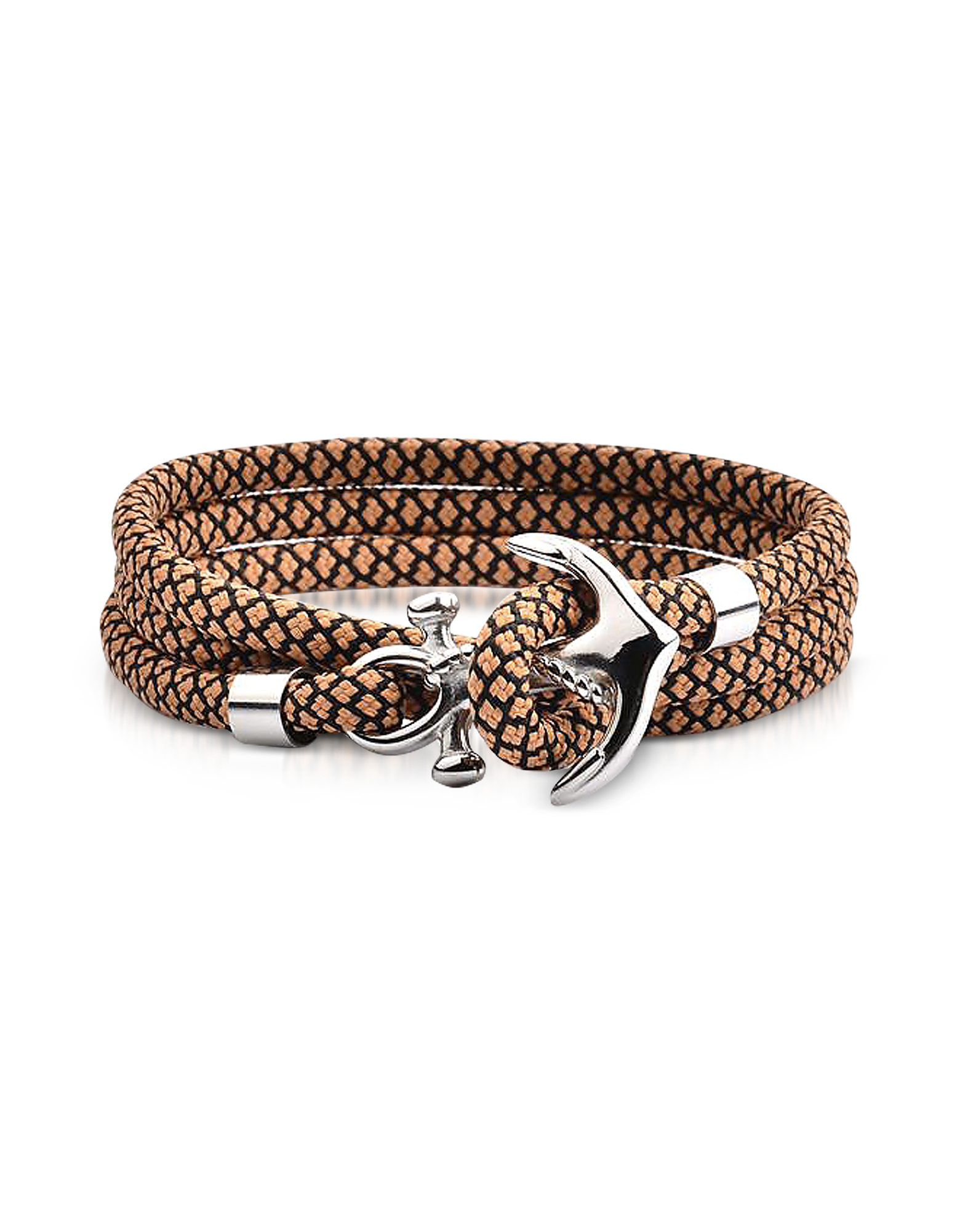 Forzieri Men's Bracelets, Light Brown and Black Rope Triple Bracelet w/Anchor