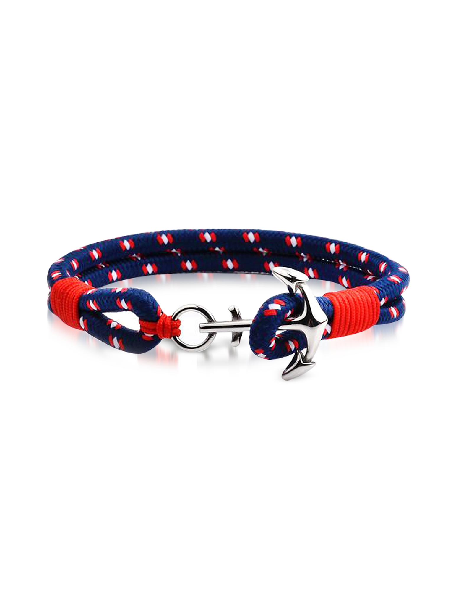Forzieri Men's Bracelets, Blue and Red Men's Rope Bracelet