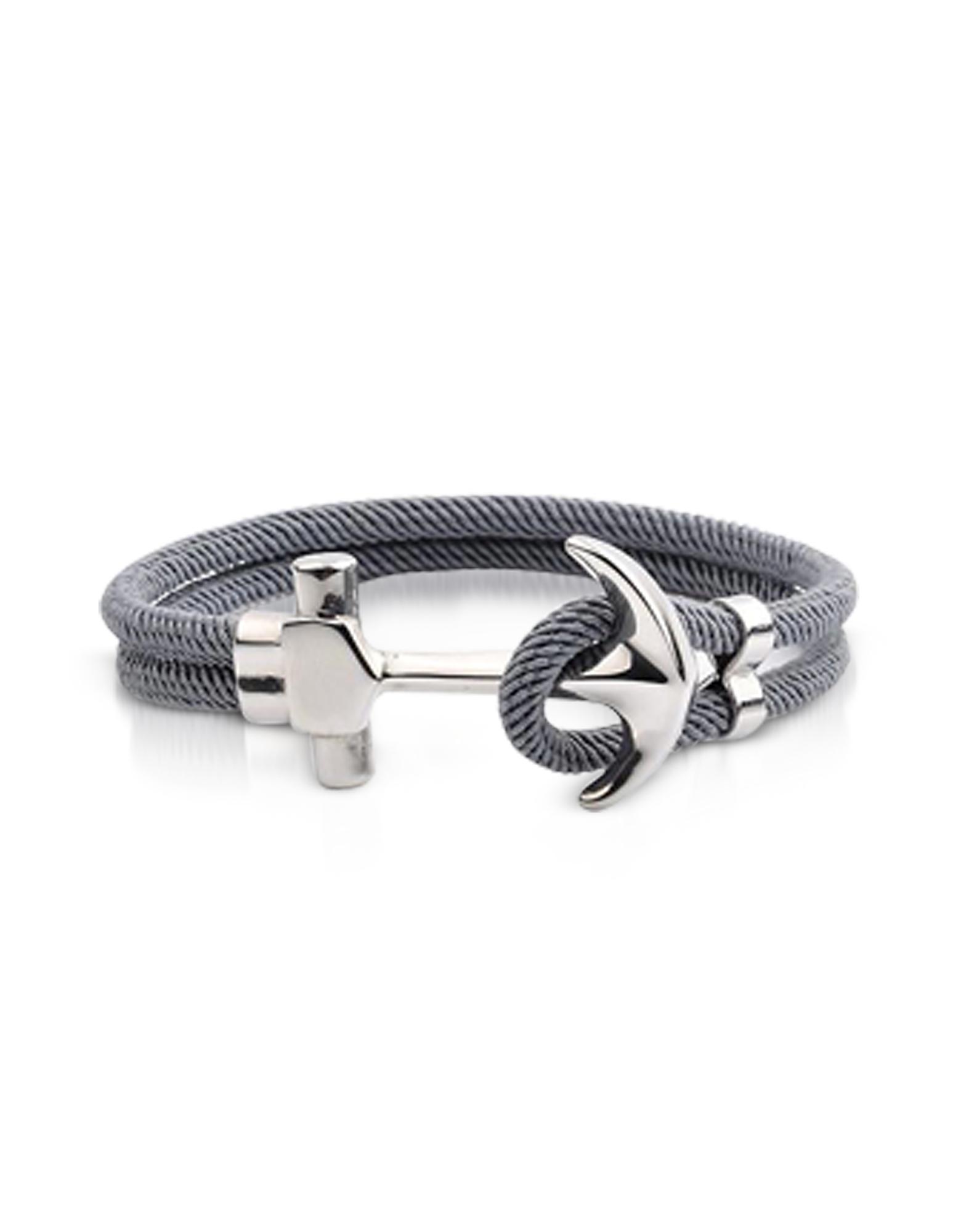 Forzieri Men's Bracelets, Nautical Rope Double Bracelet w/Anchor