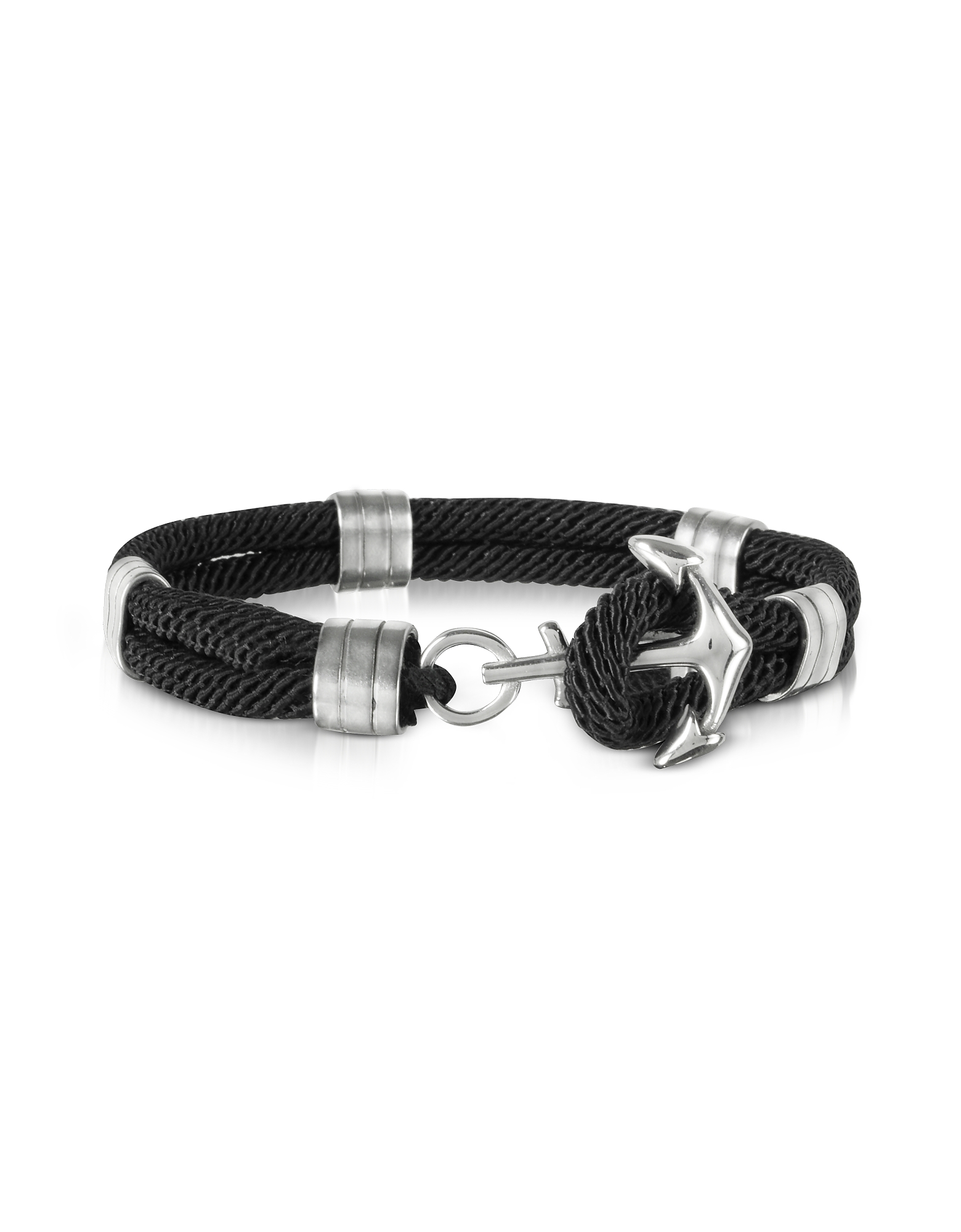 Forzieri Men's Bracelets, Black Nautical Rope Double Bracelet w/Anchor