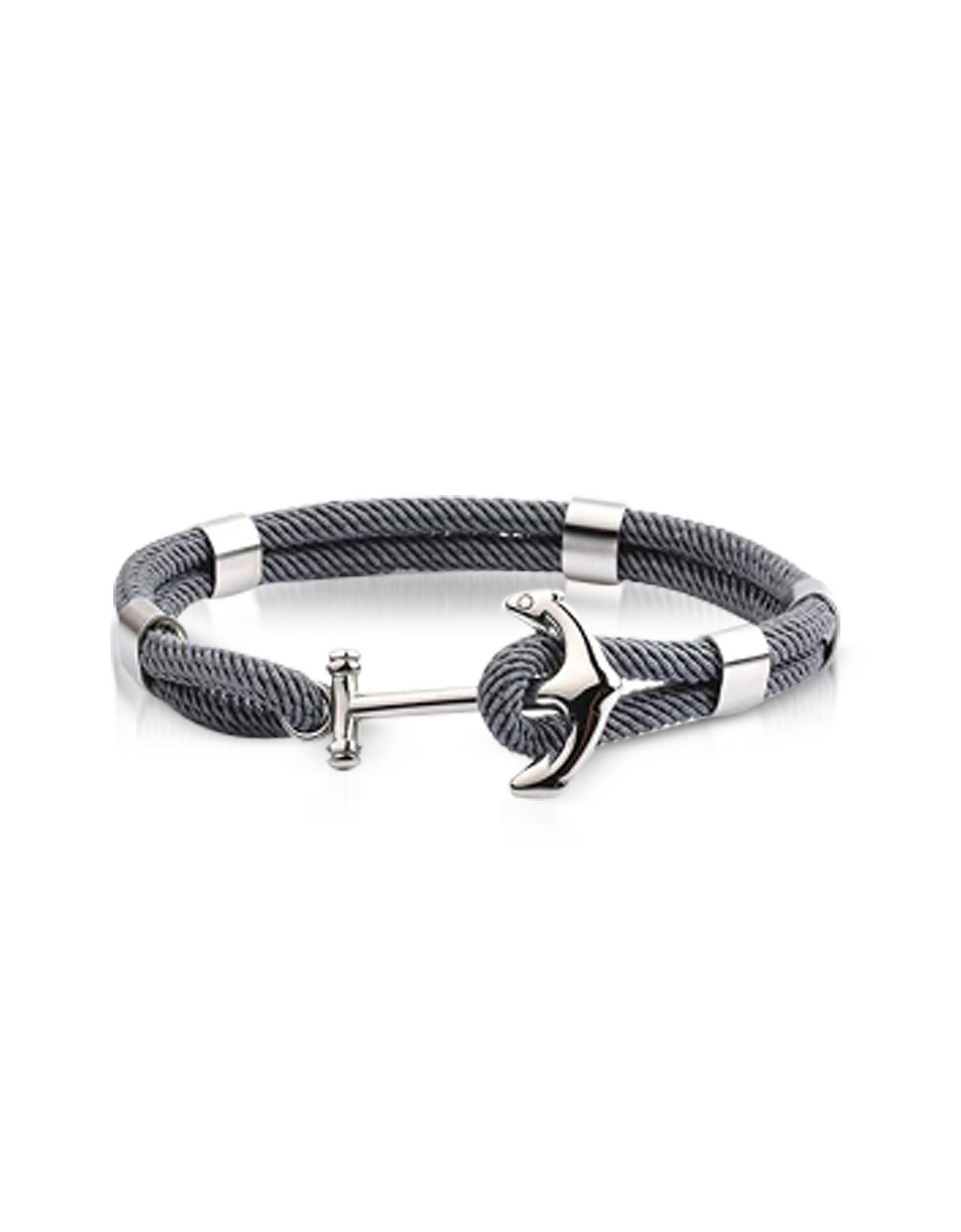 Forzieri Men's Bracelets, Dark Gray Nautical Rope Double Bracelet w/Anchor