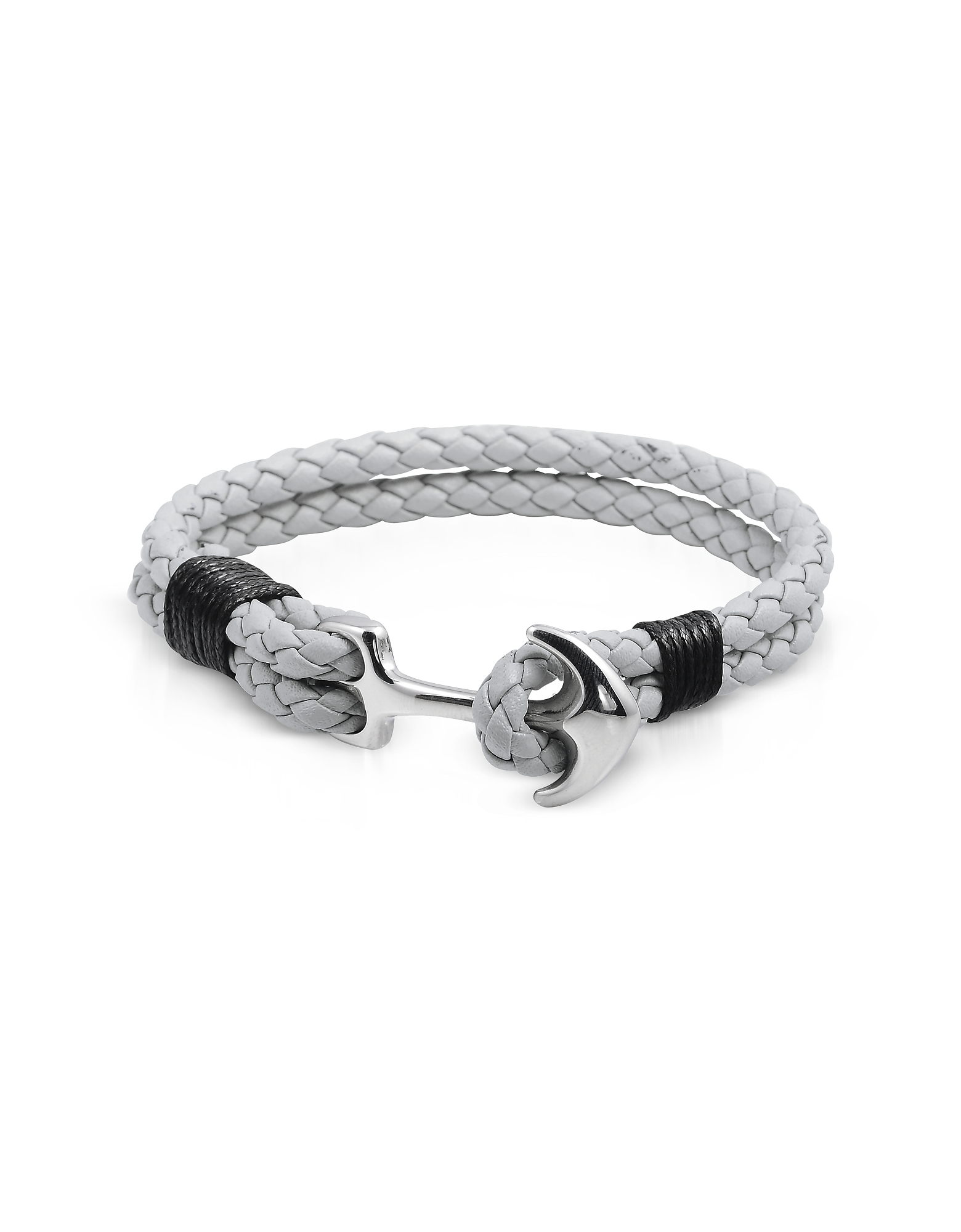 Forzieri Designer Men's Bracelets, Light Gray Leather Men's Bracelet w/Anchor