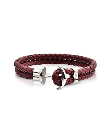 Light Brown Leather Men's Bracelet w/Anchor