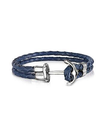 Navy Blue Leather Men's Bracelet w/Anchor fz300018-018-00