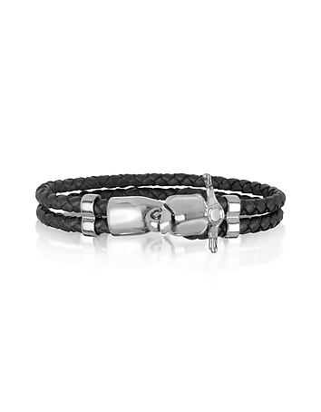 Forzieri - Vespa Stainless Steel and Leather Men's Bracelet