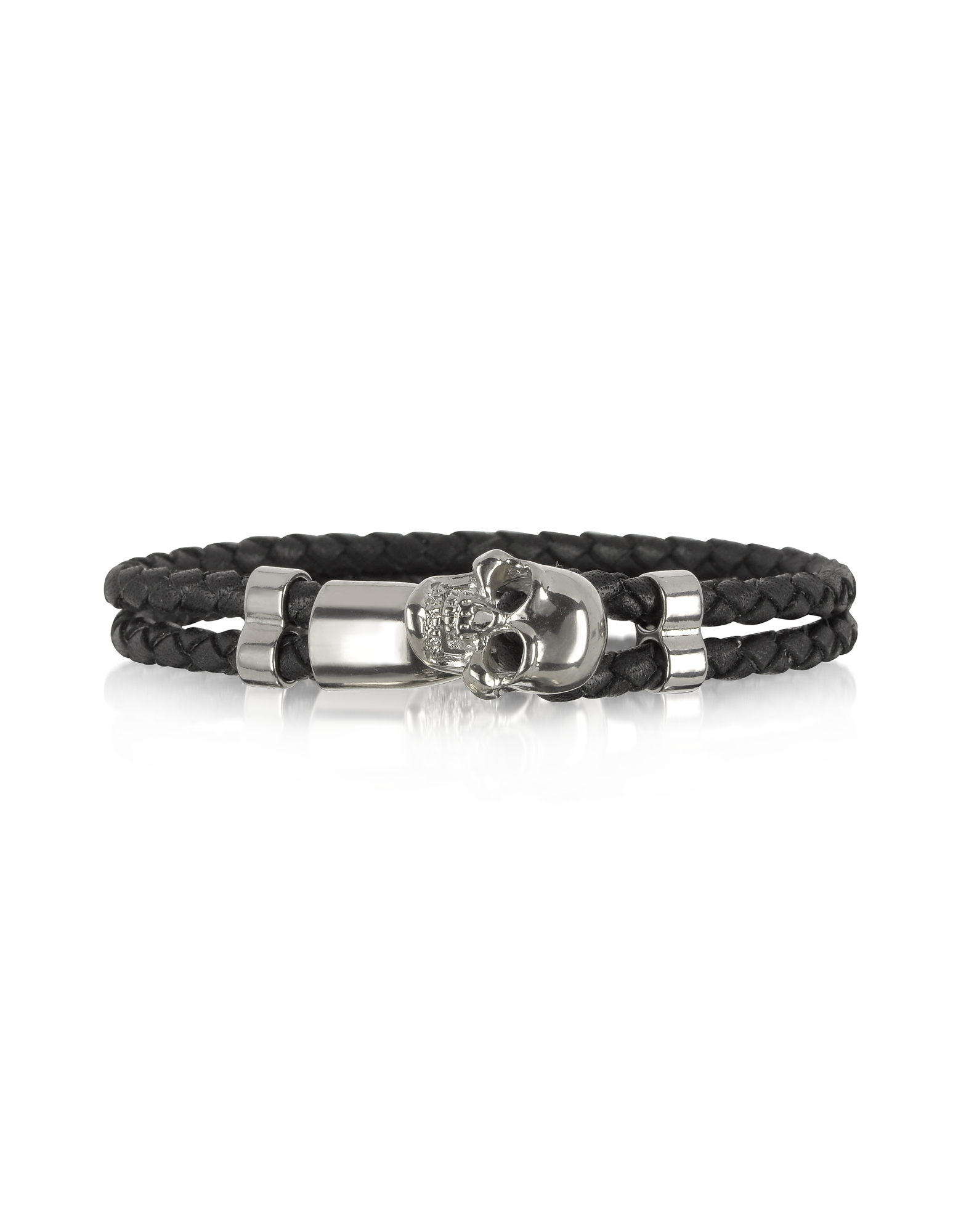 Skull Silver Tone Brass and Leather Men's Bracelet