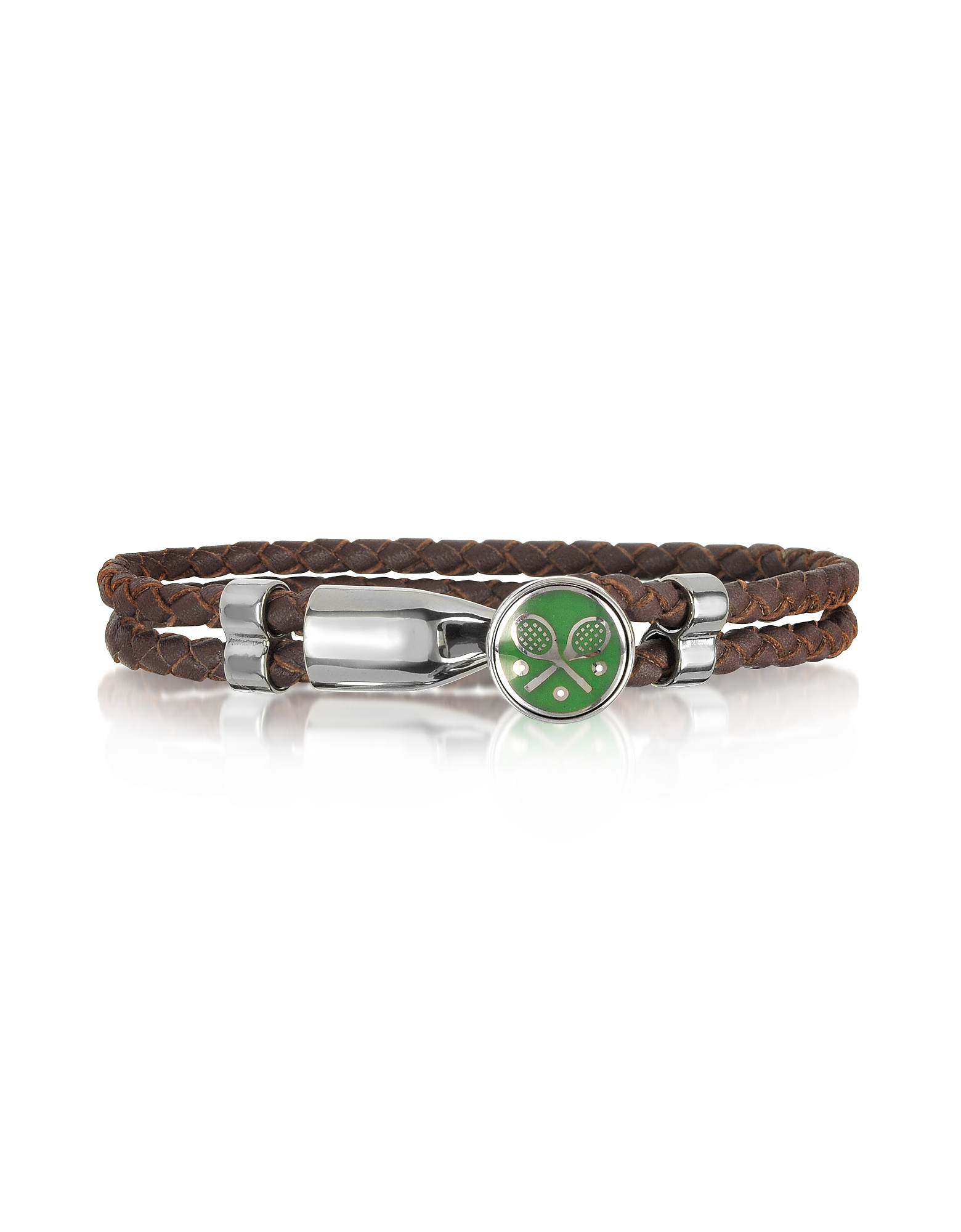 Green Tennis Rackets Metal and Leather Men's Bracelet