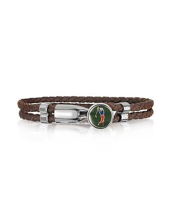 Forzieri - Green Golfer Metal and Leather Men's Bracelet