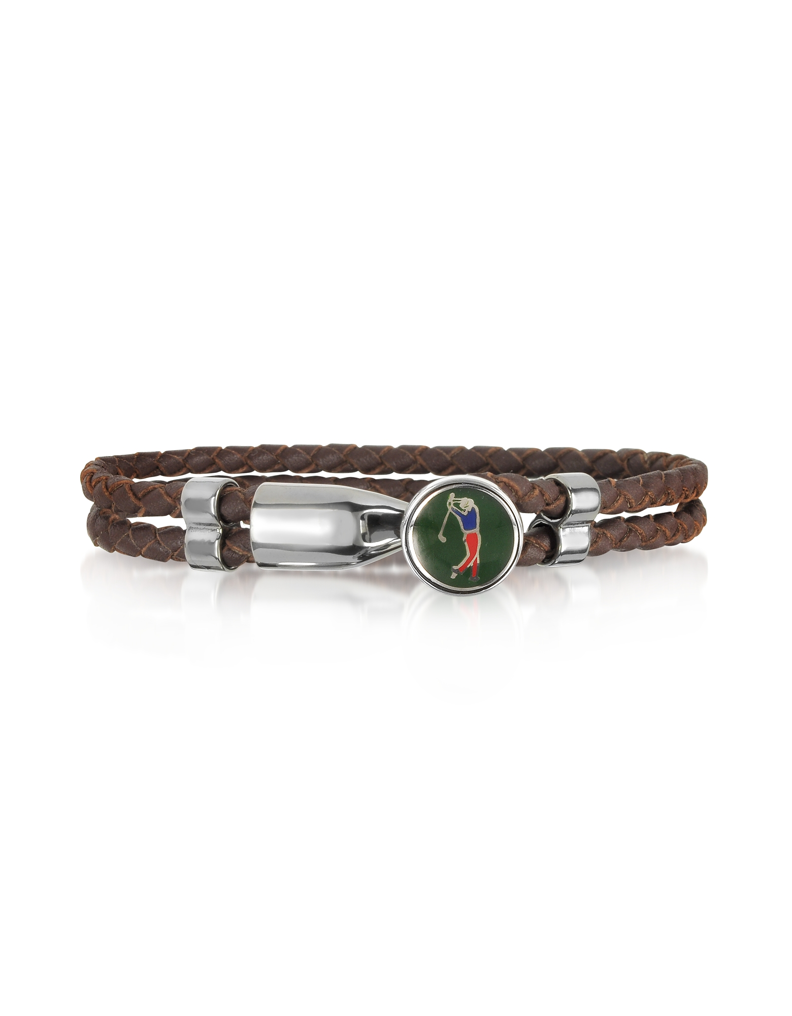 Forzieri Men's Bracelets, Green Golfer Brass and Leather Men's Bracelet