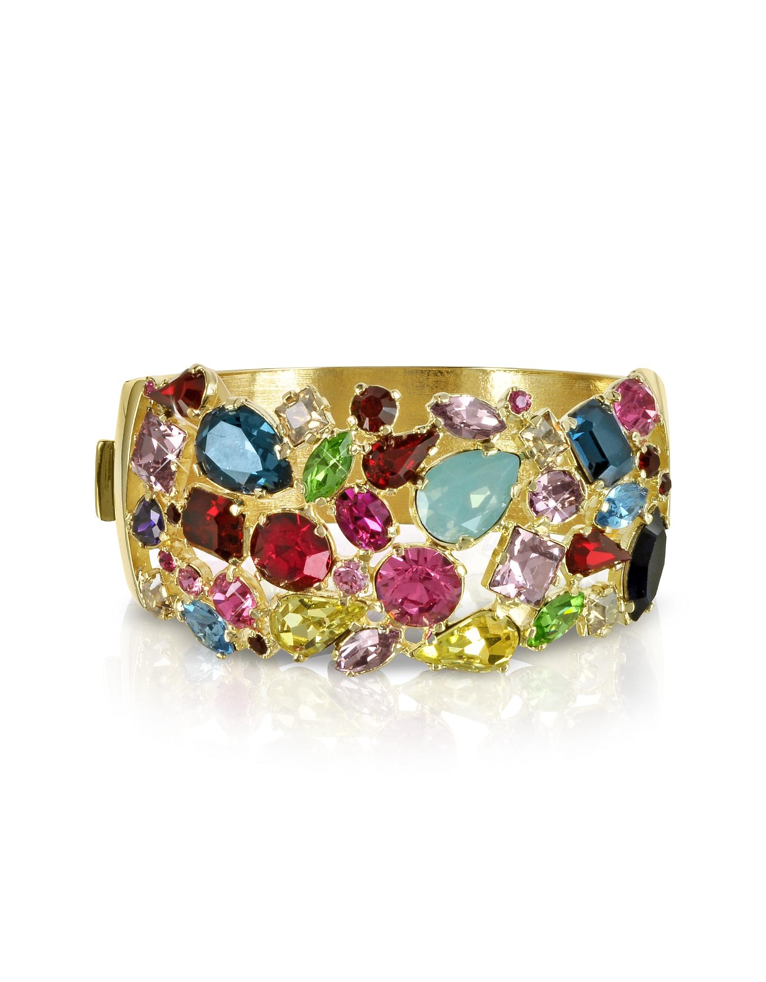 Фото Браслет из Позолоченного Металла с Разноцветными Кристаллами. Купить с доставкой