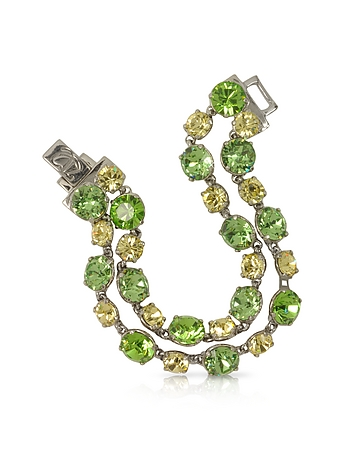 Forzieri Designer Bracelets, Green and Pale Yellow Crystal Bracelet fz300214-009-00