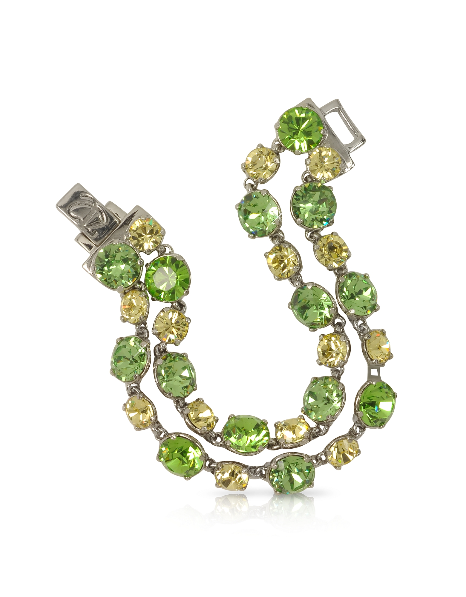 Forzieri Bracelets, Green and Pale Yellow Crystal Bracelet