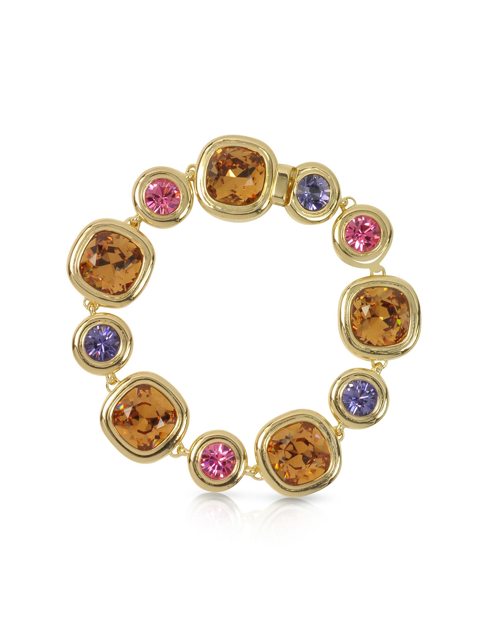 Браслет с Фиолетовыми, Розовыми и Коричневато-желтыми Кристаллами