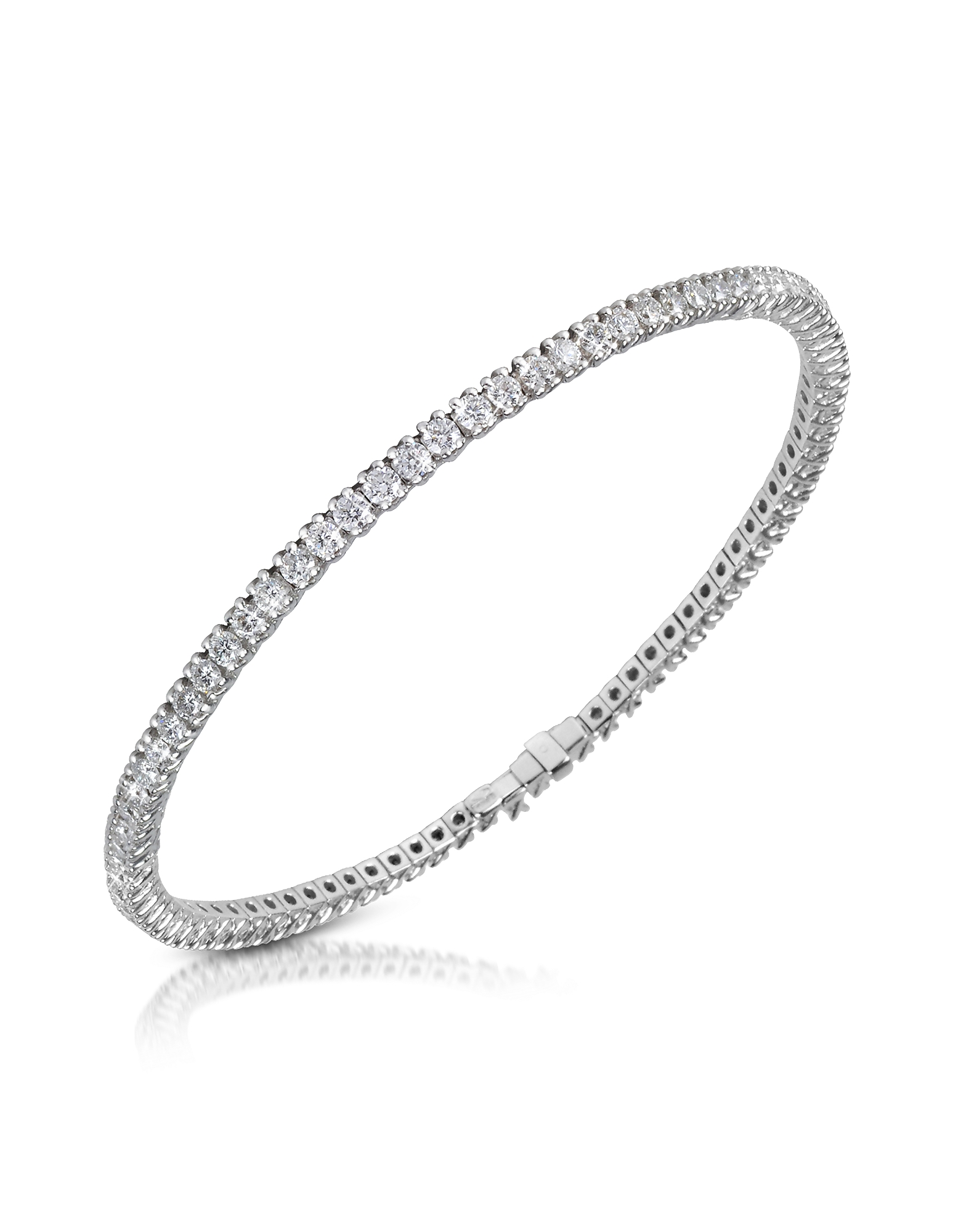 Forzieri Bracelets, White Diamond Eternity 18K Gold Tennis Bracelet