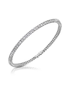 White Diamond Eternity 18K Gold Tennis Bracelet - Forzieri