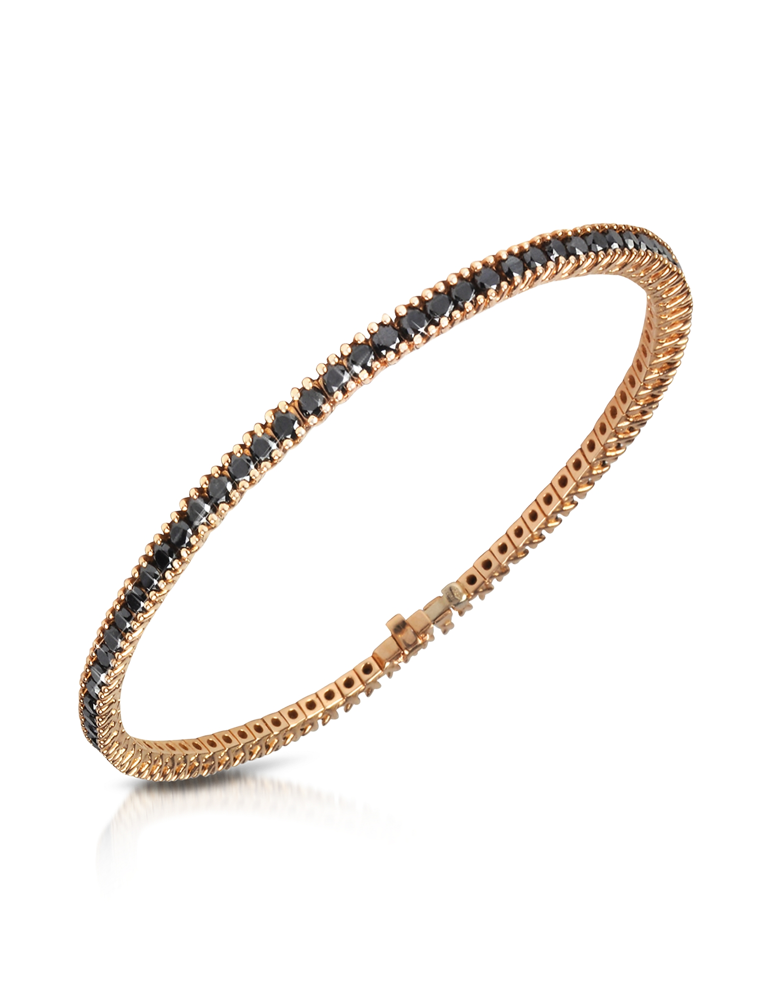 Forzieri Bracelets, Black Diamond Eternity 18K Gold Tennis Bracelet