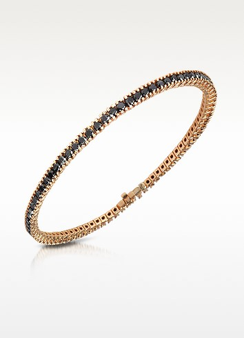 Black Diamond Eternity 18K Gold Tennis Bracelet - Forzieri