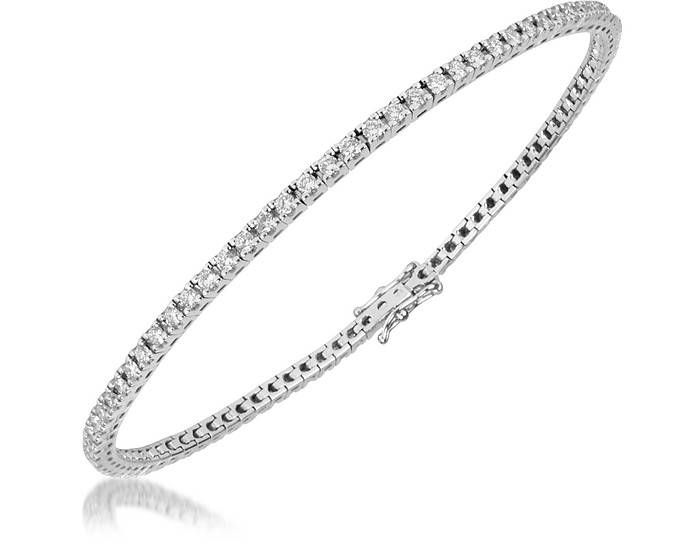 1.61 ctw White Diamond Eternity 18K Gold Tennis Bracelet - Forzieri