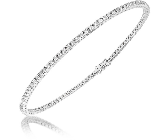1.05 ctw White Diamond Eternity 18K Gold Tennis Bracelet - Forzieri